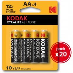 comprar KODAK XTRALIFE ALKALINE AA - 20 PACKS DE 4UDS