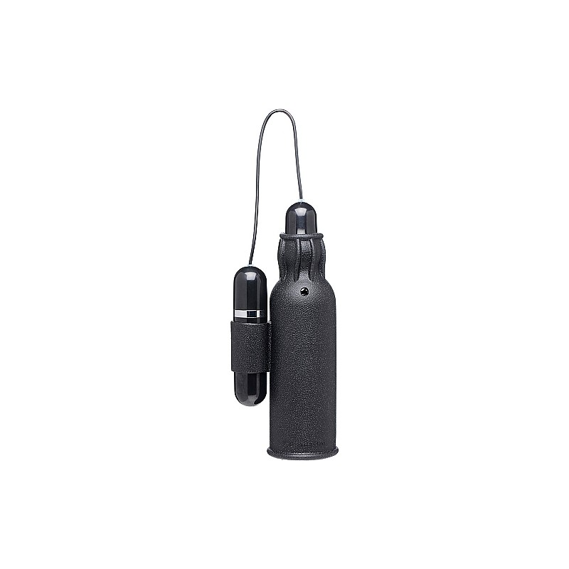 LIGHTNING STROKE SILICONE STROKER WITH VIBRATING BULLET BLACK